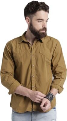 Roadster Men's Solid Casual Brown Shirt at flipkart