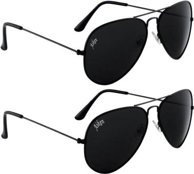 Aiken Aviator Sunglasses(Black, Black)