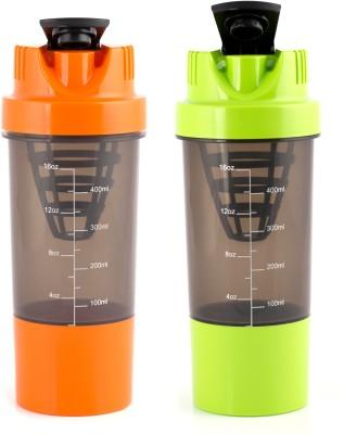 HAANS Cyclone Shakers Combo(set of 2) 1000 ml Shaker(Pack of 2, Orange, Green)