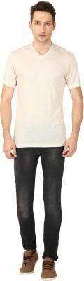 TrendBerry Solid Men's V-neck White T-Shirt  available at flipkart for Rs.199