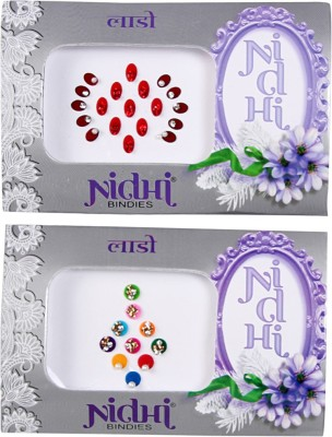 NIDHI bindi8 Forehead Multicolor Bindis(Morden Bindi)