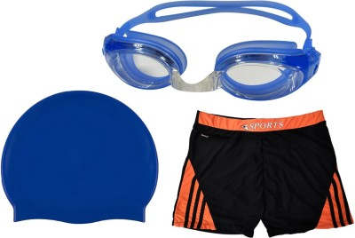 Golddust Swimming Goggles, Silicone Cap with Swim Shorts Swimming Kit