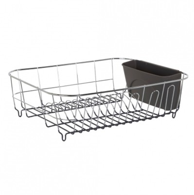 Howards Dish Rack with Rubber Base Stainless Steel Kitchen Rack(Steel, Brown)