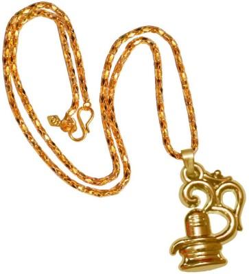 Shiv Jagdamba Regilious Jewellery Cubic Zironia Om Shiv Trishul Damaru With Rudraksha Locket Gold-plated Metal, Alloy Pendant