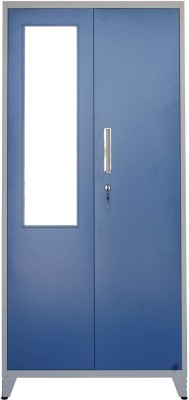 Woodness Ryan Metal 2 Door Wardrobe(Finish Color - Dual tone Blue White, Mirror Included)