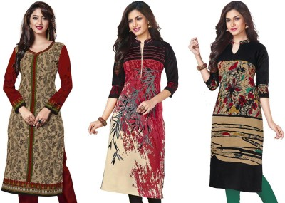 Jevi Prints Cotton Printed Kurti Fabric(Un-stitched)