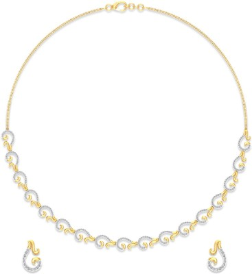 P.N.Gadgil Jewellers Yellow Gold Aura 18kt Diamond Earring & Necklace Set at flipkart