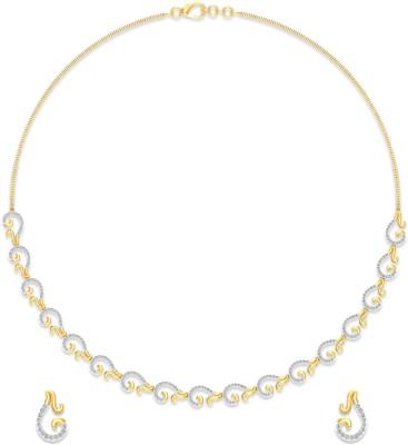 P.N.Gadgil Jewellers Yellow Gold Aura 18kt Diamond Earring & Necklace Set at flipkart