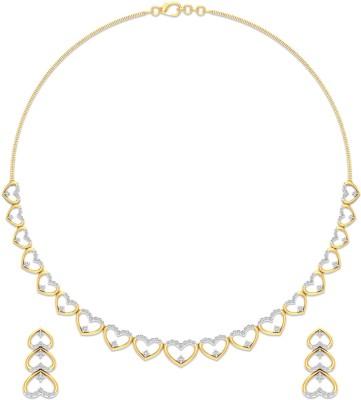 P.N.Gadgil Jewellers Yellow Gold Love Heart 18kt Diamond Earring & Necklace Set at flipkart