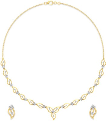 P.N.Gadgil Jewellers Yellow Gold Nature Love 18kt Diamond Earring & Necklace Set at flipkart