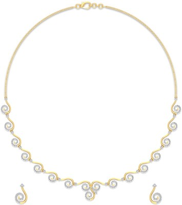 P.N.Gadgil Jewellers Yellow Gold Inaya 18kt Diamond Earring & Necklace Set at flipkart