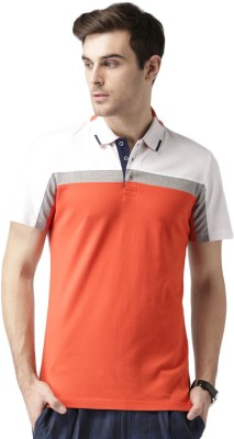 Invictus Solid Men's Polo Neck Orange, White T-Shirt