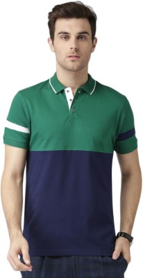Invictus Solid Men's Polo Neck Green, Dark Blue T-Shirt