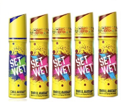 Set Wet Set Wet 1 Chill Avatar And 4 Thrill Avatar ( Pack of 5 ) Deodorant Spray  -  For Men(150 ml, Pack of 5)