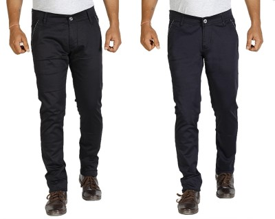 Star Slim Men's Black, Dark Blue Jeans(Pack of 2)