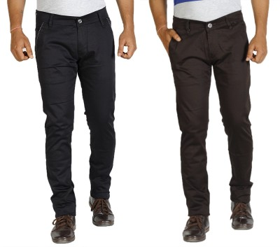 Star Slim Men's Black, Brown Jeans(Pack of 2)