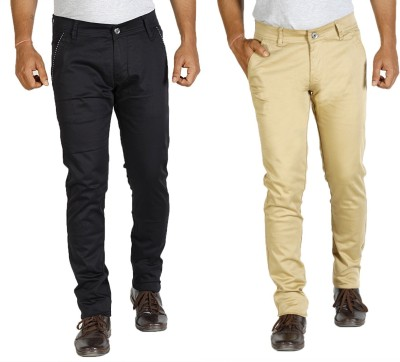 Star Slim Men's Black, Beige Jeans(Pack of 2)