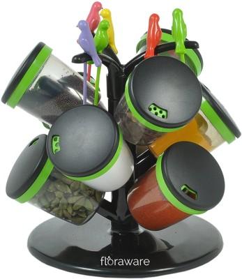 Floraware 9-Jar Cute Revolving Spice Masala Box Rack with Fruit Fork, Green Condiment Set(Plastic) at flipkart