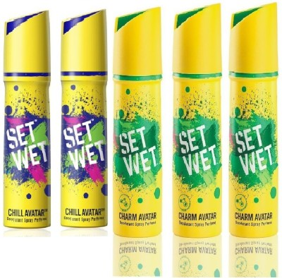 Set Wet 2 Chill Avatar And 3 Charm Avatar set of 5 Deodorant Spray  -  For Men(150 ml, Pack of 5) at flipkart