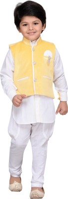 AJ Dezines Boys Kurta, Waistcoat and Pyjama Set(Yellow Pack of 1) at flipkart