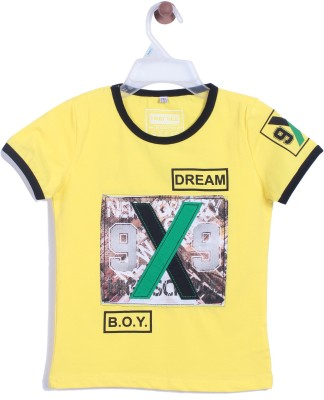 Chimprala Boys Printed Cotton T Shirt(Yellow, Pack of 1)