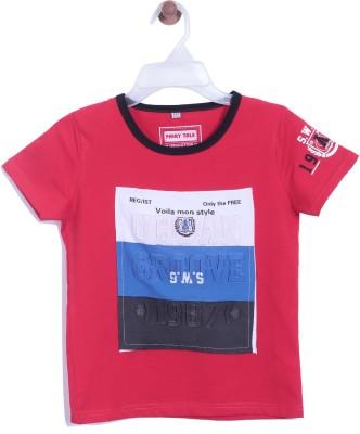 Chimprala Boys Printed Cotton T Shirt(Red, Pack of 1)