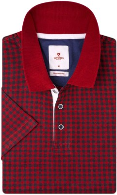 Invictus Checkered Men's Polo Neck Red, Black T-Shirt at flipkart