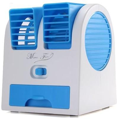 cierie Mini Small Fan Cooling Portable Desktop Dual zd1 USB Fan Blue cierie Mobile Accessories