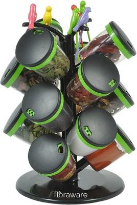 Floraware 15-Jar Cute Revolving Spice Masala Box Rack with Fruit Fork, Green Condiment Set(Plastic) at flipkart