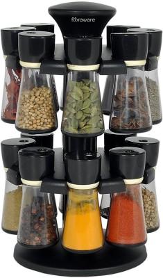 Floraware 16-Jar Revolving Spice Rack Masala Box, Black Condiment Set(Plastic) at flipkart