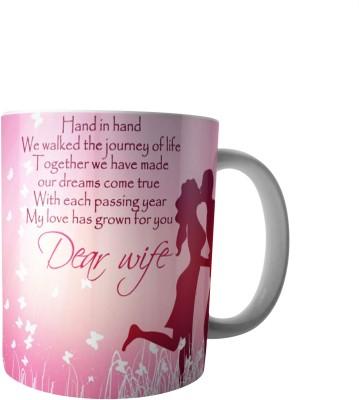 PrintVisa Happy Birthday Dear Wife Ceramic Mug(300 ml) at flipkart