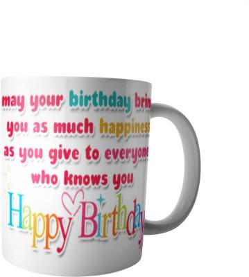 PrintVisa Happy Birthday Designer Ceramic Mug(300 ml) at flipkart
