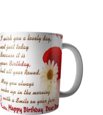 PrintVisa Happy Birthday Bro Ceramic Mug(300 ml) at flipkart