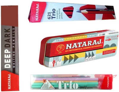 Natraj Combo Pack of Nataraj Geometry Box (1 Set) + Nataraj 621 Trio Pencils ( Pack of 10 pencils ) + Nataraj Trio Cheerful Pencils ( Pack of 10 pencils + 1 Free Eraser + 1 Free Sharpener) + Nataraj Deep Dark Pencils ( Pack of 10 pencils ) + 1 Free Pouch with Combo Triangular Shaped Pencil(Multicolo  available at flipkart for Rs.280