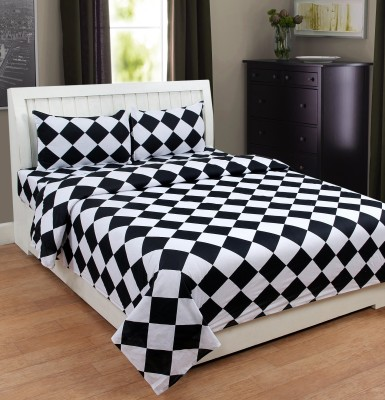 Web India International Cotton Checkered Double Bedsheet(1 Double Bed-Sheet, 2 Pillow Covers, Black, White) at flipkart