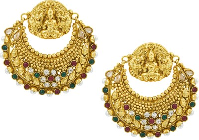 Shining Jewel Original & Authentic Temple Crystal, Pearl Brass Chandbali Earring  available at flipkart for Rs.988