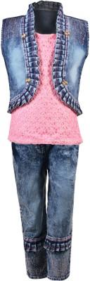 Aarika Girls Party(Festive) Top Jeans(Pink)