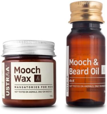 Ustraa Beard Oil 4x4 + Mooch Wax(Set of 2)