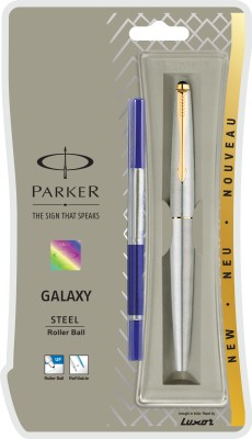 Parker Galaxy Stainless Steel Gold Trim Roller Ball Pen  available at flipkart for Rs.425