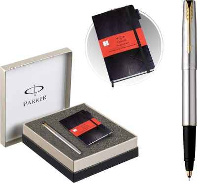 Parker Frontier Stainless Steel GT Roller Ball Pen + Parker Notebook Pen Gift Set  available at flipkart for Rs.1060
