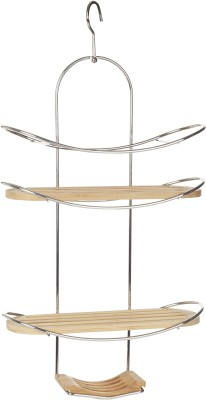 Howards Shower Caddy - Chrome Bamboo Wall Shelf(Number of Shelves - 3, Beige, Steel)