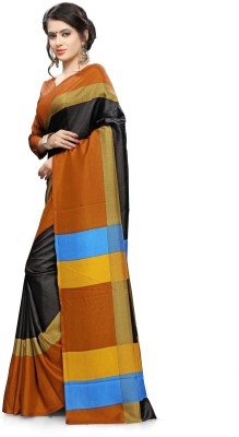 AJS Self Design Paithani Cotton Linen Blend Saree(Gold, Black)  available at flipkart for Rs.899