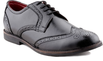 Zebra Men's Genuine Leather Black Formal Brogue Shoes Lace Up For Men(Black)