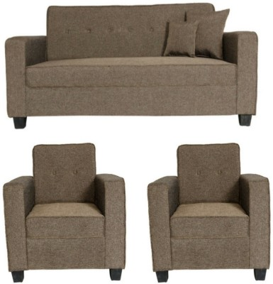 GIOTEAK classy Fabric 3 + 1 + 1 Brown Sofa Set