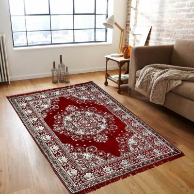 Globe Rudra Red Velvet Carpet(150 cm  X 210 cm) at flipkart