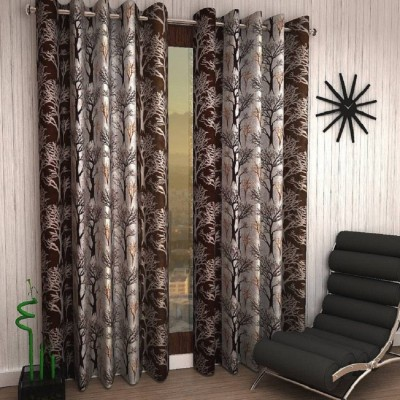Panipat Textile Hub 213 cm (7 ft) Polyester Door Curtain (Pack Of 2)(Floral, Brown)