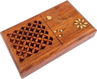 TimberKart 10 Compartments Sheesham Wood Pocket Case Jali Work & Brass Hand Crafted Cigarette Holder Stand(Brown)  available at flipkart for Rs.269