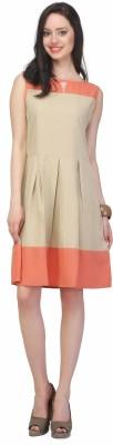 JHA FASHION Women Fit and Flare Beige Dress at flipkart