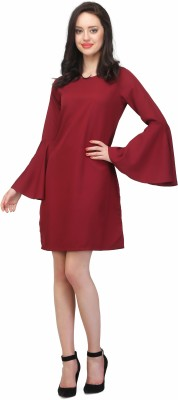 JHA FASHION Women Shift Maroon Dress at flipkart