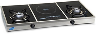 Glen Glen 2 Burner GL-1037 Stove + In Built Induction Cooktop Black Glass Manual Gas Stove(3 Burners) at flipkart